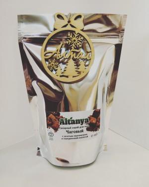 Сахарный скраб для тела  «Чаговый» с  с золотым перламутром  и гиалуроновой кислотой